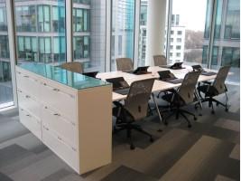 Bespoke Coloured Glass Worktops for Filing Cabinets