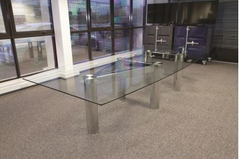 Construct Multi-piece Chrome Glass Dining Table