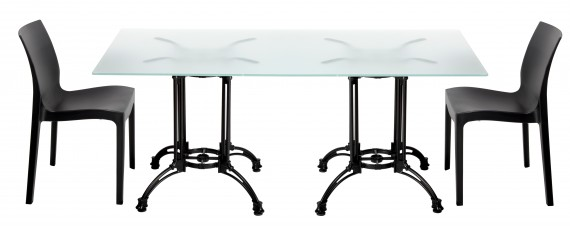 Dual Cast Outdoor Glass Dining Table