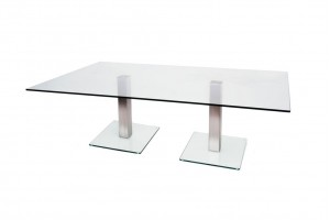 Dual Knee Glass Reception Table