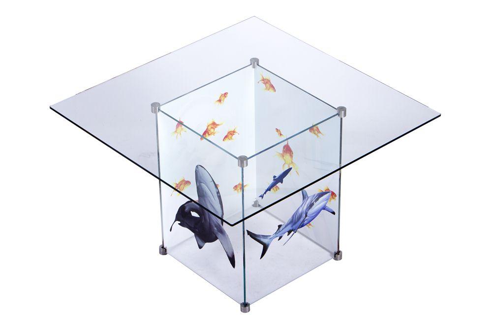 Printed Glass Box Table