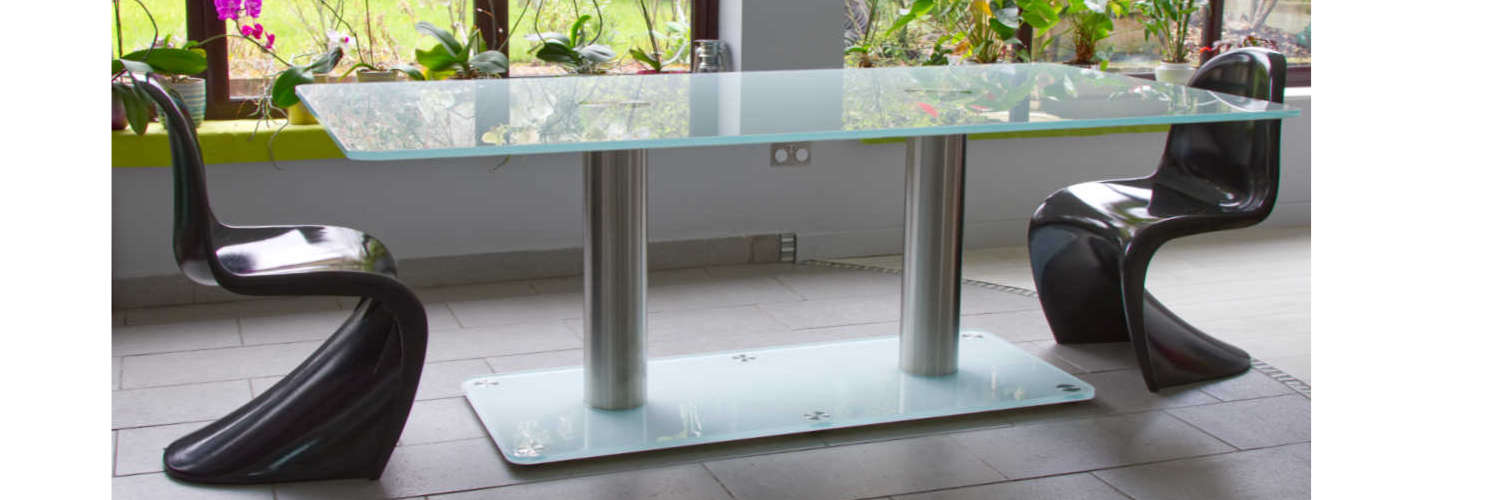 Large Low Iron glass dining table