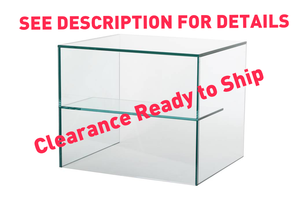Clearance Sneeze Counter  W: 1000mm x  D: 500mm x H: 600mm - Clear Glass, 1 Half Depth Shelf in Middle.